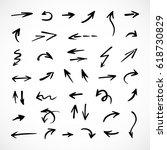 hand drawn arrows  vector set   Shutterstock .eps vector #618730829