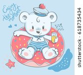cute bear swimming with ring... | Shutterstock .eps vector #618735434