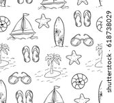 doodle seamless pattern of...   Shutterstock .eps vector #618738029