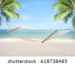 summer sandy beach with hammock ... | Shutterstock . vector #618738485