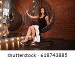 beautiful girl in black evening ... | Shutterstock . vector #618743885