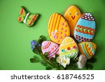 still life easter cookies and... | Shutterstock . vector #618746525