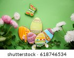 still life easter cookies and... | Shutterstock . vector #618746534