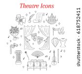 vector set of theater icons... | Shutterstock .eps vector #618752411