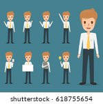 set of business man character... | Shutterstock .eps vector #618755654