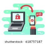 two steps authentication... | Shutterstock .eps vector #618757187