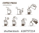 coffee brewing cooking... | Shutterstock .eps vector #618757214