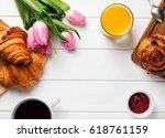breakfast with croissants ... | Shutterstock . vector #618761159