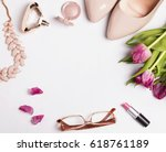stylish feminine accessories... | Shutterstock . vector #618761189