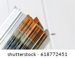 side view of a stack of... | Shutterstock . vector #618772451