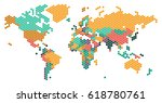 dotted world map with countries ... | Shutterstock .eps vector #618780761