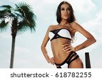 woman summer fashion. beautiful ... | Shutterstock . vector #618782255