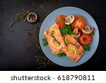 baked salmon fish fillet with... | Shutterstock . vector #618790811