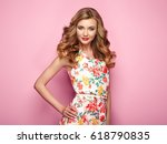 blonde young woman in floral... | Shutterstock . vector #618790835