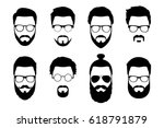 hipster detailed hair and... | Shutterstock .eps vector #618791879