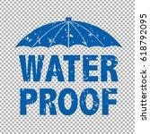water proof text | Shutterstock . vector #618792095
