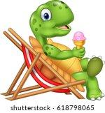 cartoon turtle sitting on beach ...   Shutterstock .eps vector #618798065