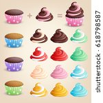 construction cupcakes on a... | Shutterstock .eps vector #618798587