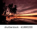 beautiful sunset at the lake - stock photo