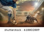 baseball players in action on... | Shutterstock . vector #618802889