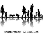 family silhouettes in nature | Shutterstock .eps vector #618803225