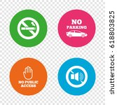 stop smoking and no sound signs.... | Shutterstock .eps vector #618803825