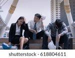 asian businessman and woman... | Shutterstock . vector #618804611