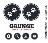 grunge post stamps. paw sign...   Shutterstock .eps vector #618805637