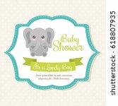 kawaii elephant. baby shower... | Shutterstock .eps vector #618807935