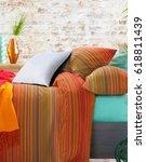 decorative pillow natural.... | Shutterstock . vector #618811439