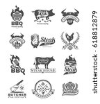 set of vector black grill and... | Shutterstock .eps vector #618812879
