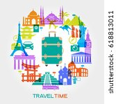 travel and tourism background.... | Shutterstock .eps vector #618813011