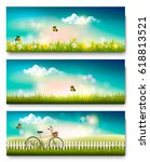 set of spring nature landscape... | Shutterstock .eps vector #618813521