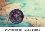 compass on map  | Shutterstock . vector #618814859
