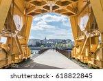 under the yellow crane titan in ... | Shutterstock . vector #618822845
