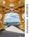 under the yellow crane titan in ... | Shutterstock . vector #618822851