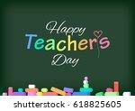 happy teacher's day. greeting...   Shutterstock .eps vector #618825605