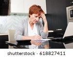 sad businesswoman with document.... | Shutterstock . vector #618827411