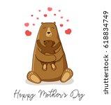 cute cartoon bear with its baby ... | Shutterstock .eps vector #618834749