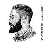 hand drawn portrait of bearded... | Shutterstock .eps vector #618835064