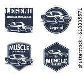set of classic muscle car logo | Shutterstock .eps vector #618835571