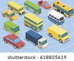 isometric 3d cars set   Shutterstock .eps vector #618835619