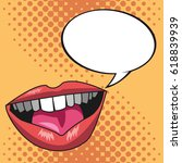 pop art lips bubble speech... | Shutterstock .eps vector #618839939