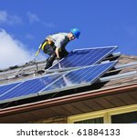man installing alternative... | Shutterstock . vector #61884133