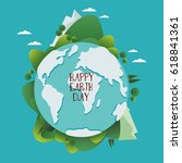 happy earth day vector... | Shutterstock .eps vector #618841361