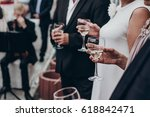 people toasting with champagne... | Shutterstock . vector #618842471