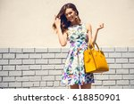 beautiful brunette young woman... | Shutterstock . vector #618850901