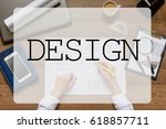 girl is sitting at table with... | Shutterstock . vector #618857711