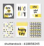 set of 6 cute creative cards... | Shutterstock .eps vector #618858245