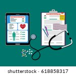 the digital and paper tablet...   Shutterstock . vector #618858317